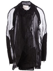 A.F.Vandevorst Sheer Double Notched Lapels Coat Black