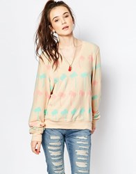 Wildfox White Label Baggy Beach V Neck Pastel Palms Sweater Beige