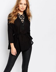 Y.A.S Mille Shirt With Crochet Yoke Black