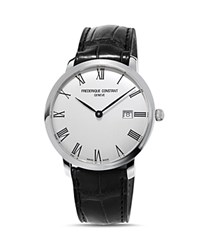 Frederique Constant Slimline Watch With Leather Strap 40Mm White Black