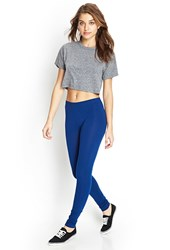 Forever 21 Solid Knit Leggings Indigo