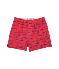 Tommy Bahama Island Washed Cotton Woven Boxer Sail Away Red Print Men's Underwear Pink