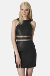 Topshop Mesh Panel Dress Juniors Black