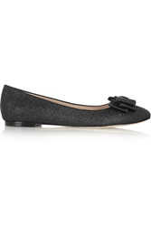 Lucy Choi London Monaco Glitter Finished Leather Ballet Flats Black