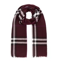 Burberry Shoes And Accessories Gauze Giant Check Wool Silk Scarf Female Red