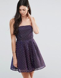 Pixie And Diamond Polka Dot Bandeau Skater Dress Purple Dot