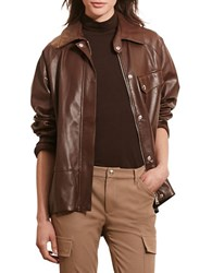 Lauren Ralph Lauren Haldana Leather Full Zip Jacket Brown