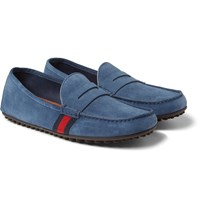 Gucci Stripe Trimmed Suede Driving Shoes