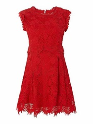 Orien Love Crochet Lace Skater Tunic Red