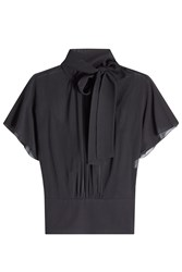 Red Valentino R.E.D. Chiffon Blouse With Self Tie Accent Black