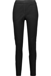Maje Faux Suede And Leather Trimmed Wool Blend Tapered Pants Black