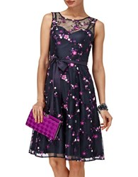 Phase Eight Azaria Embroidered Fit And Flare Dress Navy Pink