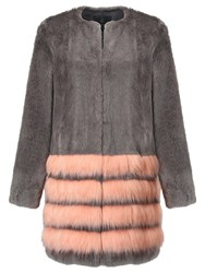 Unreal Fur Tundra Coat Charcoal Peach