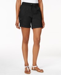 Styleandco. Style And Co. Petite Pull On Cuffed Shorts Only At Macy's Deep Black