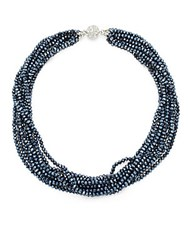 Saks Fifth Avenue Silvertone Multi Strand Faceted Bead Necklace Blue