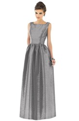 Women's Alfred Sung Square Neck Dupioni Full Length Dress Quarry