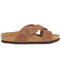 Birkenstock Tunis Cocoa Woven Embossed Leather Nubuck Sandals Brown