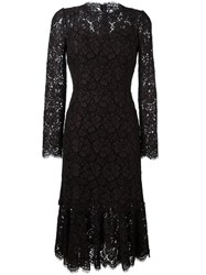 Dolce And Gabbana Fluted Hem Lace Dress Brown