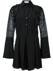 See By Chloe Embroidered Sheer Sleeve Playsuit Black
