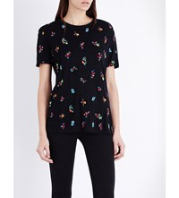 The Kooples Floral Embroidered T Shirt Black