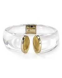 Alexis Bittar Lucite Mirrored Crescent Hinge Cuff Clear