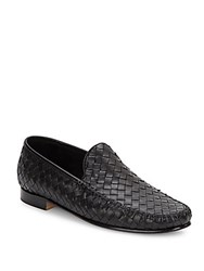 Saks Fifth Avenue Made In Italy Venet Woven Leather Loafers Black