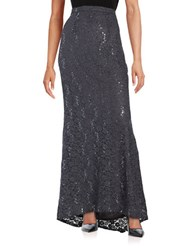 Marina Sequined Lace Skirt Gunmetal