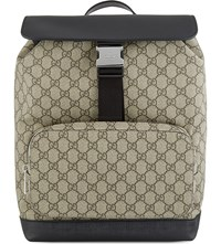 Gucci Gg Supreme Leather And Canvas Backpack Tan