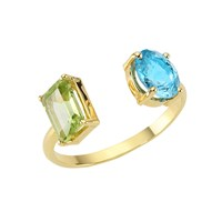 Intua Jewellery 14 Karat Blue Topaz And Peridot Ring Gold