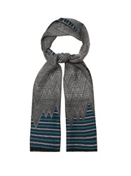 Missoni Chevron And Striped Wool Scarf Blue Multi