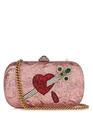 Gucci Broadway Crystal Embellished Clutch Pink Multi