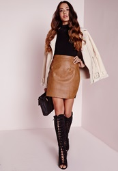 Missguided Faux Leather Snake Skin Mini Skirt Tan Brown