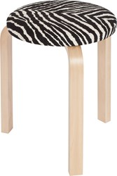 Artek Upholstered Stool 60 With Natural Lacquered Legs