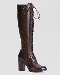 Frye Tall Lace Up Boots Parker Dark Brown