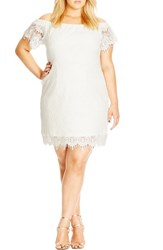 Plus Size Women's City Chic Off The Shoulder Lace Dress Ivory