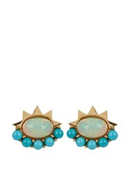 Ileana Makri Opal Turquoise And Yellow Gold Earrings