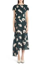 Women's Marni Short Sleeve Asymmetrical Hem Silk Dress