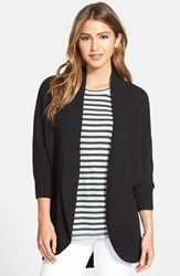 Women's Caslon Open Front Cotton Blend Cardigan Black