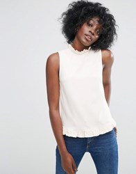 Asos Shell Top With Woven Ruffle High Neck Nude Pink