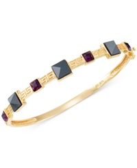 Sis By Simone I Smith Purple Crystal And Hematite Bangle Bracelet In 14K Gold Over Sterling Silver