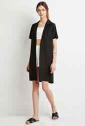 Forever 21 Longline Collared Crepe Jacket Black