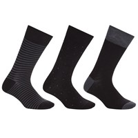 John Lewis Bamboo And Cotton Pattern Socks Pack Of 3 Black Grey