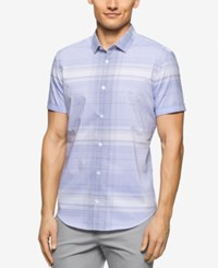 Calvin Klein Men's Big And Tall Dobby Twill Short Sleeve Shirt Deep Perwinkle
