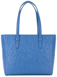 Salvatore Ferragamo Medium Logo Embossed Tote Blue