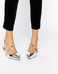 Asos Lead The Way Wide Fit Pointed Ballet Flats Silver