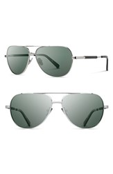 Men's Shwood 'Redmond' 56Mm Titanium And Wood Sunglasses Ebony Silver Titanium Grey