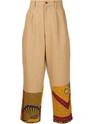 Junya Watanabe Comme Des Gara Ons Man Printed Panel Trousers Nude And Neutrals