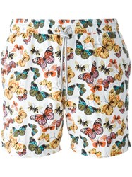 Capricode Butterfly Print Swim Shorts White