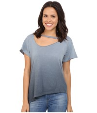 Lna Slant Hem Mara Tee Ombre Faded Black Women's T Shirt Gray