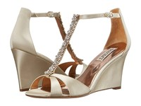 Badgley Mischka Romance Ivory Satin Women's Wedge Shoes Bone